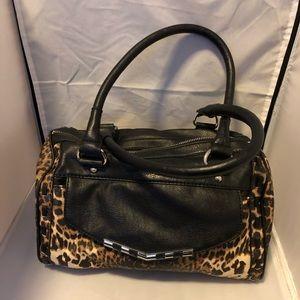 Jessica Simpson leopard and black barrel purse